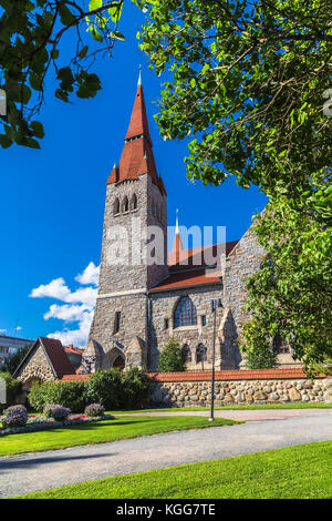 The tower of the cathedral in Tampere. Finland - Stock Photo