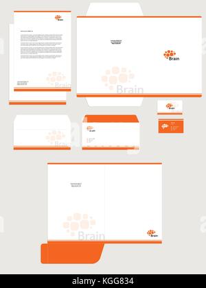 Business corporate identity set isolated vector template, white background. Orange color brain logo. Card, blank, - Stock Photo
