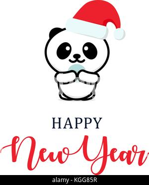 Cute panda in a New Year hat. Christmas character illustration. New year vector minimalistic logo - Stock Photo