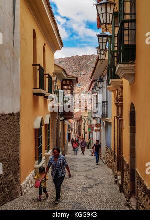 Calle Jaen, Old Town, La Paz, Bolivia - Stock Photo