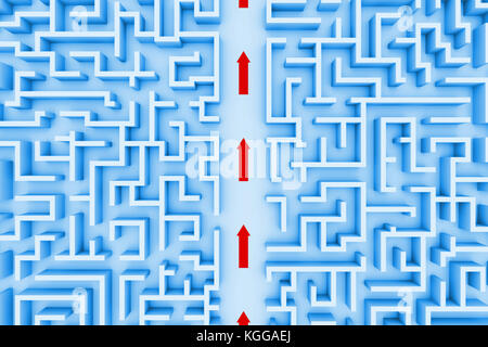 huge maze structure, red arrows showing shortcut through the labyrinth (blue 3d illustration) - Stock Photo
