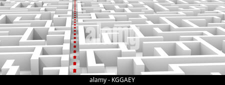 huge white maze structure, red arrows showing shortcut through the labyrinth (3d illustration, background banner) - Stock Photo