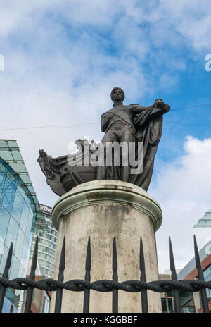Birminghamm, UK - October 3rd, 2017 : Statue of Lord Horatio Nelson in the Bull Ring shopping centre - Stock Photo