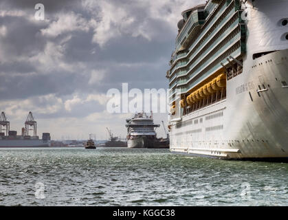 In dock, two Royal Caribbean passenger cruise ships, Southampton Water - Stock Photo