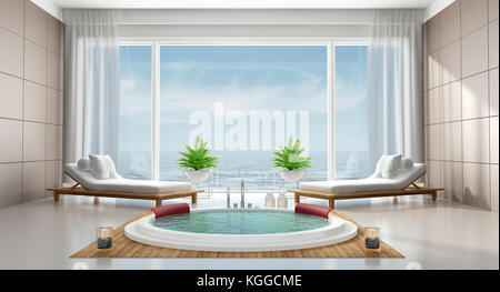 ... Luxury Modern Bathroom With Round Bathtub,chaise Lounges, And Large  Windows   3d Rendering