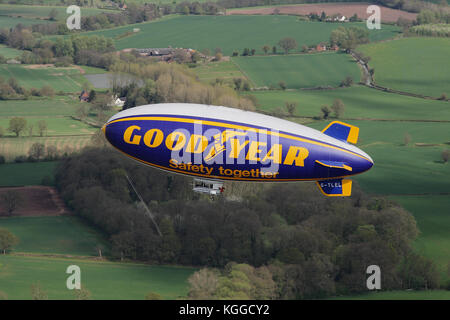 Air to air in flight Goodyear dirigible blimp / airship G-TLEL Spirit of Safety airborne flying over Shropshire - Stock Photo