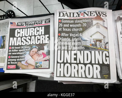 Front pages of New York newspapers on Monday, November 6, 2017 report on the previous day's shooting in the First - Stock Photo