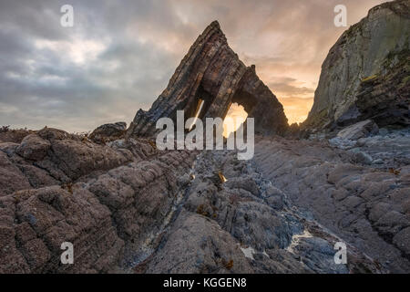 Blackchurch Rock, Mouth Mill Beach, Hartland, North Devon, England, UK - Stock Photo