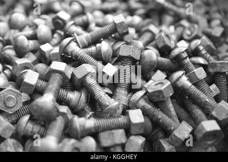 Rusty nuts and bolts - Stock Photo