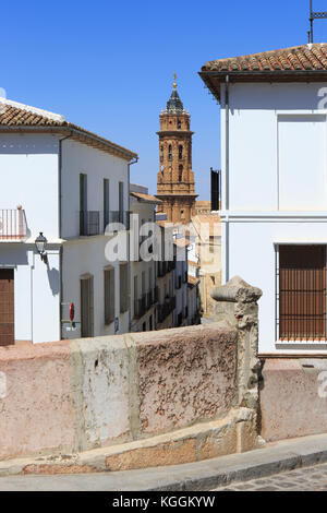 The bell-tower (1701-1706) of the 16th-century Roman Catholic Royal Collegiate of San Sebastian and the Lovers' - Stock Photo