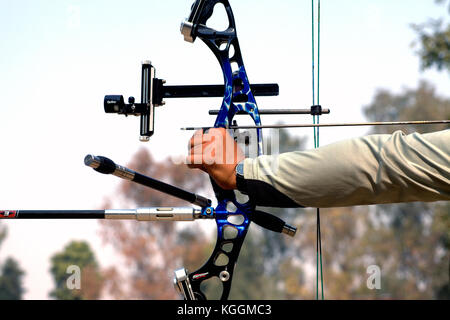 Archers at an archery contest in the university campus - Stock Photo