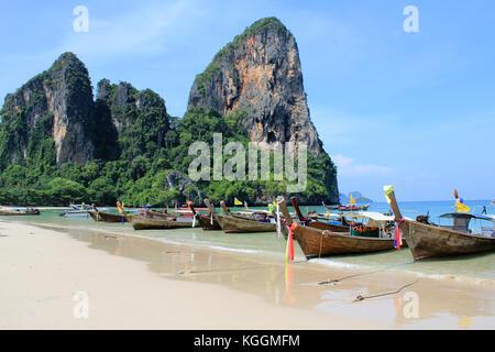 Beaches of Railay in Krabi, Thailand - Stock Photo