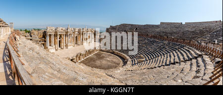 High Resolution panoramic view of Antique Theater in ancient Greek city Hierapolis, Pamukkale, Turkey - Stock Photo