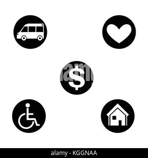 Vector illustration set, collection round, black and white flat icons : house, car, health and money sign, symbols - Stock Photo