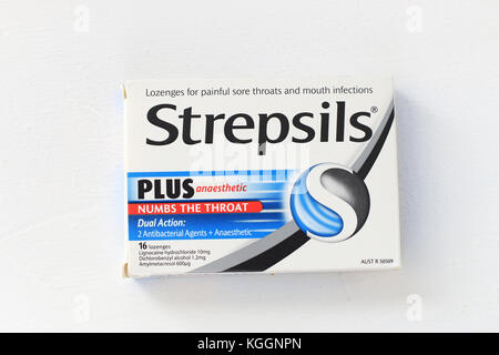 Strepsils - throat lozenges numbing the throat for sore throat - Stock Photo