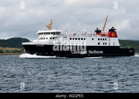 2011 M.V. Finlaggan Ferry Sound of Islay Scotland close up port side view of black white red caledonian macbrayne - Stock Photo