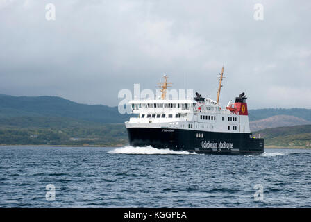 2011 M.V. Finlaggan Ferry Sound of Islay Scotland port bow side view of black white red caledonian macbrayne Calmac - Stock Photo
