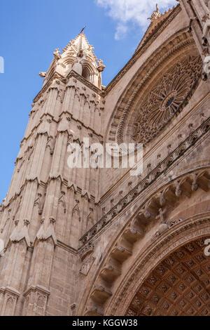 Vertical shot of Cathedral Le Seu in Palma de Mallorca, a popular tourist destination - Stock Photo