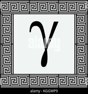Gamma Greek letter icon, Gamma symbol in ancient Greek frame, vector illustration. - Stock Photo