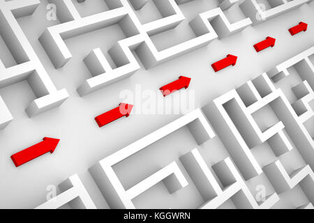 white maze structure, red arrows showing shortcut through labyrinth (3d illustration) - Stock Photo