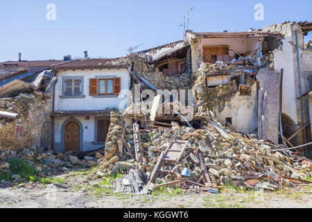 Prato of Amatrice,Italy. 29 April 2017. The damage caused by the earthquake that hit central Italy in 2016. Prato - Stock Photo