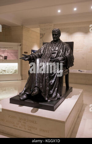 Statue of Chief Justice John Marshall in the Supreme Court Building, Washington DC, United States. - Stock Photo