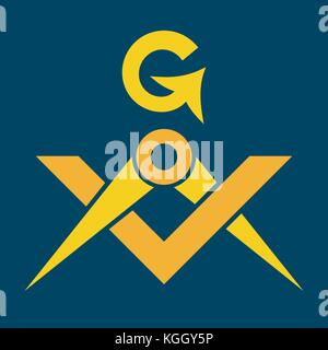 The Masonic Square and Compasses (Sacral Emblem of Medieval fraternity and Secret society). Used in Mystical Rituals - Stock Photo