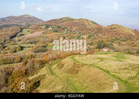 Autumn over the Malvern Hills looking north from British Camp, Herefordshire, England UK - Stock Photo