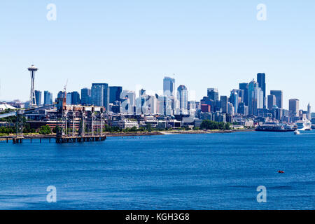 The Seattle, Washington skyline seen from off shore with a view of downtown and the Space Needle. - Stock Photo
