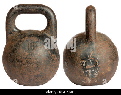 Old cast iron kettlebell 16 kg - Stock Photo