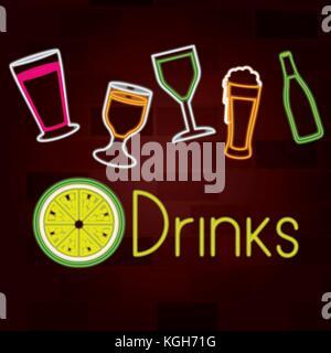 glass drinks set on neon sign on brick wall - Stock Photo
