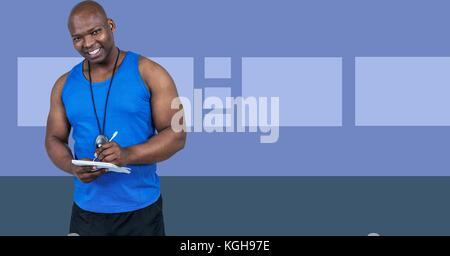Digital composite of Fitness trainer man with minimal shapes writing on chart - Stock Photo