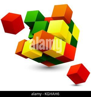 Cube with perspective. 3d model of a cube. - Stock Photo