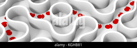 red arrows showing shortcut through white rounded maze (3d illustration) - Stock Photo