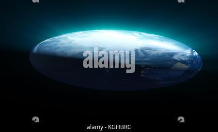 Flat Earth on black background. Digital illustration - Stock Photo