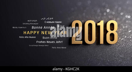 Gold 2018 New Year typescript and greetings in multiple languages, on a glittering black background - 3D illustration - Stock Photo