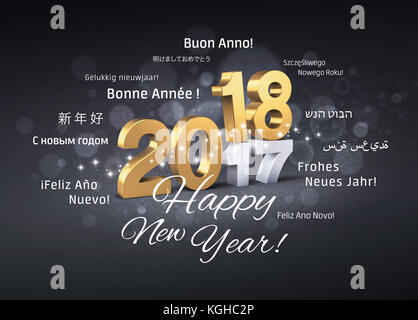 Gold 2018 New Year typescript above 2017 and greetings in multiple languages, on a festive black background - 3D - Stock Photo