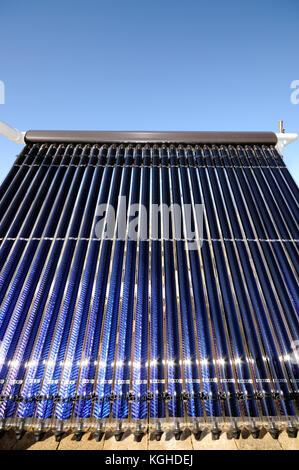 Evacuated tube solar collectors - Stock Photo