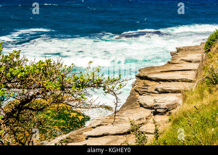 The view on the Bondi to Tamarama Beach walk in Sydney, NSW, Australia - Stock Photo