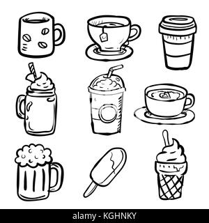 Set Beverages Doodle, hot drink, coffee, tea, beer, cup and icecream-Vector Hand drawn - Stock Photo