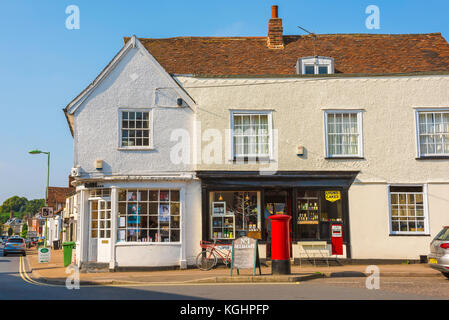 Village shop UK, traditional village shops along the High Street in the historic Suffolk village of Clare, UK - Stock Photo