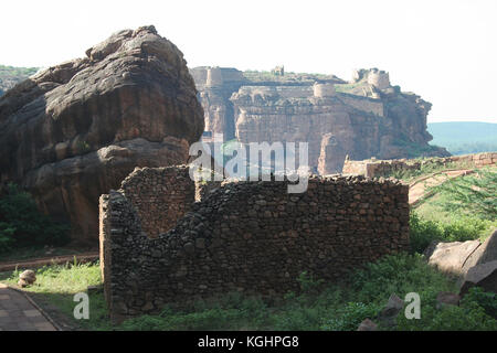 View of southern hill and fort from northern hill at Badami, Karnataka, India, Asia - Stock Photo