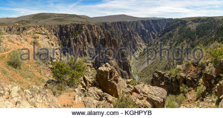 Panoramic view from the Pulpit Rock overlook in the Black Canyon of the Gunnison National Park, Colorado. - Stock Photo