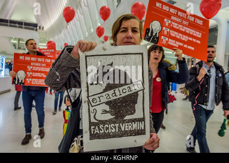 New York, United States. 07th Nov, 2017. The Oculus in downtown Manhattan, members of direct action activist group - Stock Photo