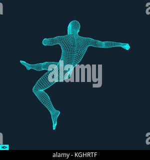Football player. Sports concept. 3D Model of Man. Human Body. Sport Symbol. Design Element. Vector Illustration. - Stock Photo