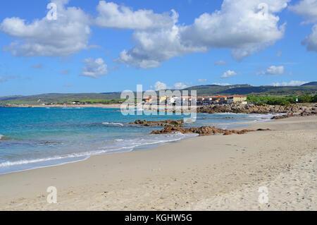 View on the beach of Torre Vignola, Sardinia, Italy - Stock Photo
