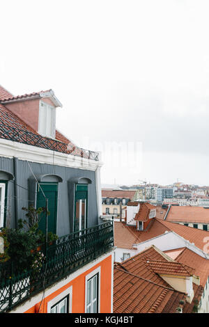 Rooftops at Alfama district, Lisbon, Portugal. - Stock Photo