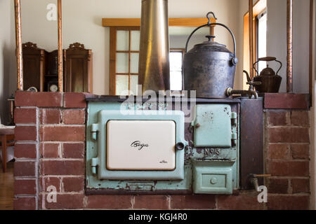 Metters No.3 cast iron wood stove and copper water heater. c1930s. - Stock Photo