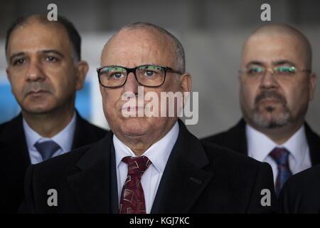 Magas, Russia. 7th Nov, 2017. Algeria's Ambassador to Russia Smail Allahua (C) visits the Sad Gigant Ingushetia - Stock Photo