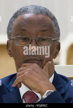 Magas, Russia. 7th Nov, 2017. Somalia's Ambassador to Russia Abdullahi Mohamed Warsame looks on during a meeting - Stock Photo